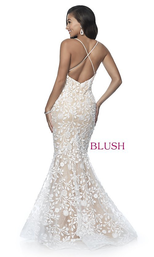 Image of long mermaid-style prom dress with lace applique. Style: BL-11979 Back Image