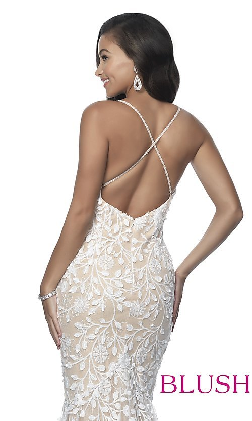Image of long mermaid-style prom dress with lace applique. Style: BL-11979 Detail Image 2