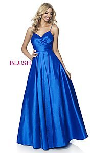 Image of long ball-gown-style taffeta prom dress by Blush. Style: BL-5830 Front Image