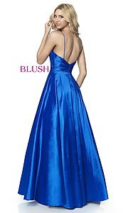 Image of long ball-gown-style taffeta prom dress by Blush. Style: BL-5830 Back Image