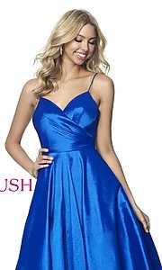 Image of long ball-gown-style taffeta prom dress by Blush. Style: BL-5830 Detail Image 1