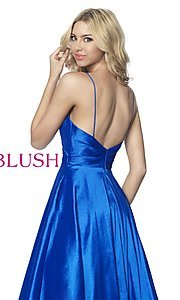 Image of long ball-gown-style taffeta prom dress by Blush. Style: BL-5830 Detail Image 2