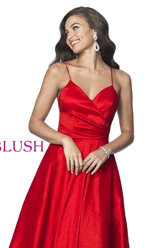 Image of long ball-gown-style taffeta prom dress by Blush. Style: BL-5830 Detail Image 4