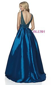 Image of long beaded-bodice ball-gown-style prom dress. Style: BL-5836 Back Image