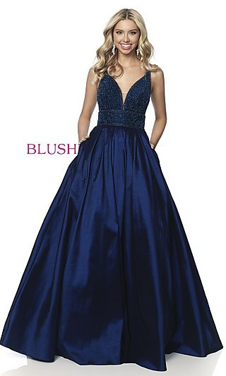Long Beaded-Bodice Ball-Gown-Style Prom Dress