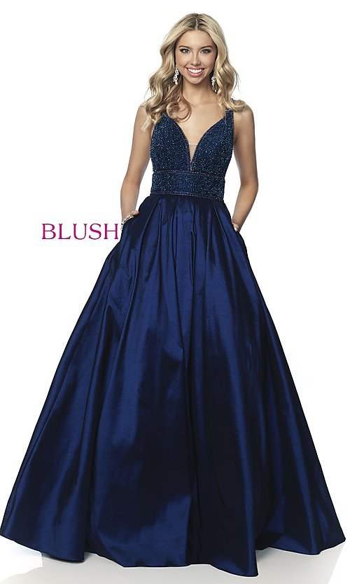 Image of long beaded-bodice ball-gown-style prom dress. Style: BL-5836 Front Image