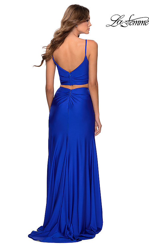 Image of La Femme two-piece long bright formal prom dress. Style: LF-28472 Back Image