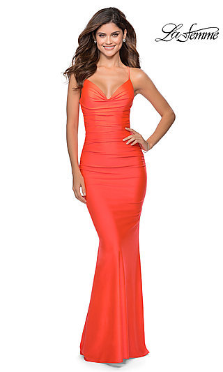 Long Fitted Neon Prom Dress with Criss-Cross Straps