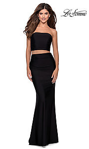 Image of long simple two-piece strapless prom dress. Style: LF-28703 Front Image