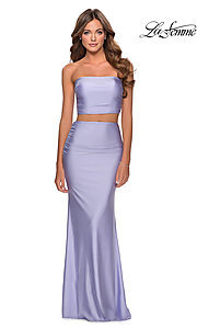 Image of long simple two-piece strapless prom dress. Style: LF-28703 Detail Image 2