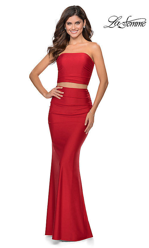 Image of long simple two-piece strapless prom dress. Style: LF-28703 Detail Image 4