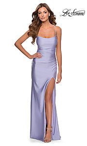 Image of scoop-neck La Femme long prom dress with open back. Style: LF-28296 Detail Image 2