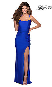 Image of scoop-neck La Femme long prom dress with open back. Style: LF-28296 Front Image