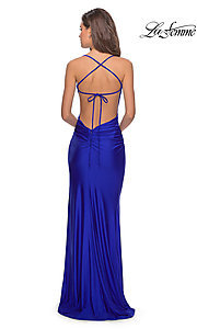 Image of scoop-neck La Femme long prom dress with open back. Style: LF-28296 Back Image