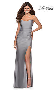 Image of scoop-neck La Femme long prom dress with open back. Style: LF-28296 Detail Image 4