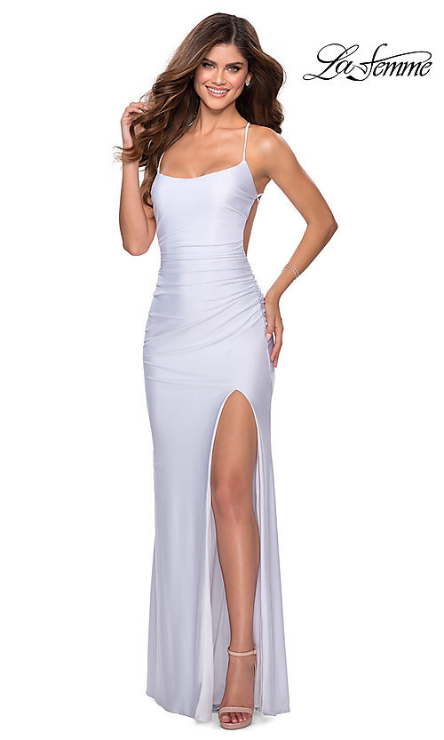 Image of scoop-neck La Femme long prom dress with open back. Style: LF-28296 Detail Image 5