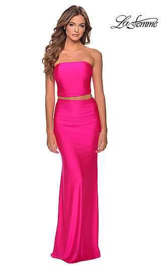 Long Simple Two-Piece Neon Prom Dress