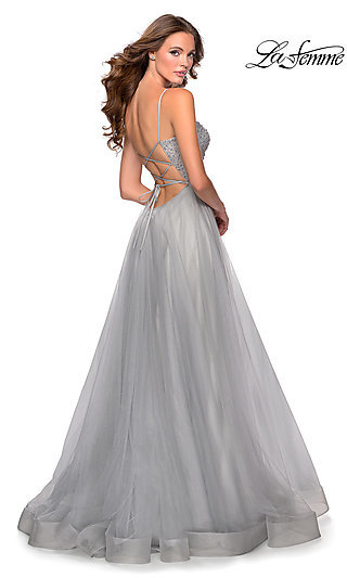 Open-Back A-Line Prom Dress with a Straight Neck