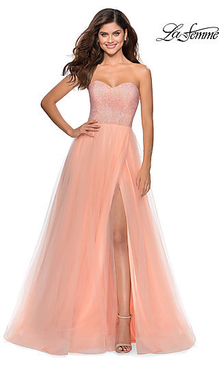 A-Line Strapless Prom Dress with a Horsehair Hem