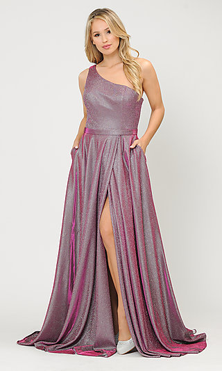 Long Glitter One-Shoulder Prom Dress with a Train