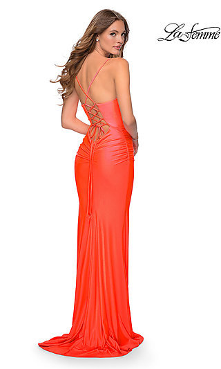 Long Neon Fitted Prom Dress with a Lace-Up Back