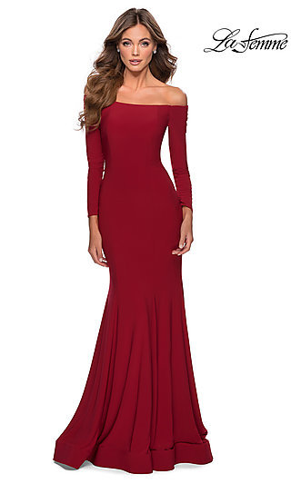 Long Fitted Jersey Prom Dress with Long Sleeves