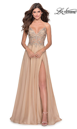 Long A-Line Chiffon Prom Dress with a Sheer Bodice