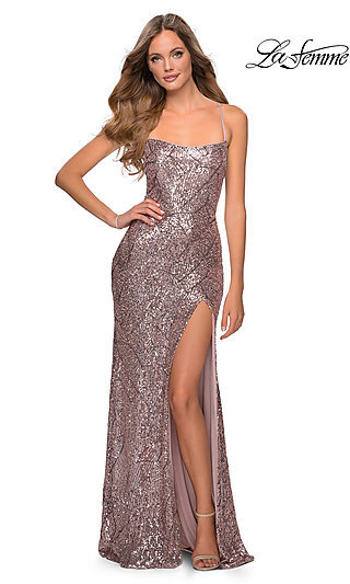 Long Sequin Straight-Neck Fitted Prom Dress