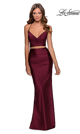 Long Fitted Two-Piece Open-Back Prom Dress