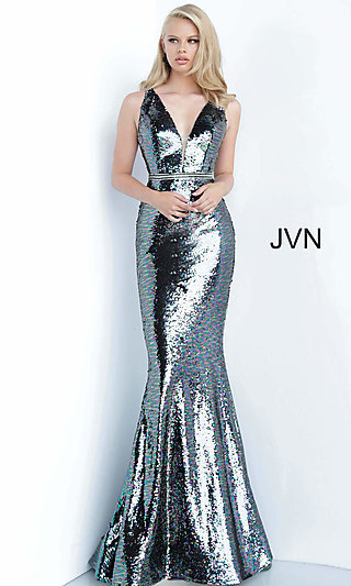 Long Silver Sequin Prom Dress from JVN by Jovani