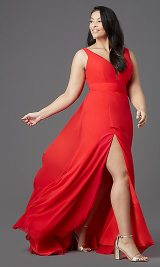Plus-Size V-Neck Prom Dress by PromGirl