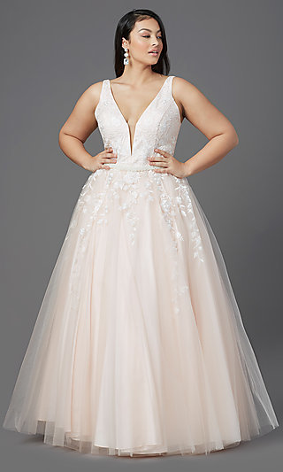 Long Tulle Prom Plus-Size Dress by PromGirl