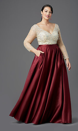 Long Plus-Size Embellished Prom Dress with Sleeves