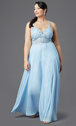 Long V-Neck Embellished Bodice Plus-Size Prom Dress