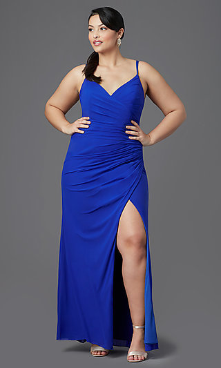 Plus-Size Long Faux-Wrap V-Neck Prom Dress