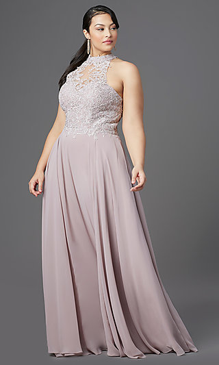 Plus-Size High-Neck Prom Dress by PromGirl