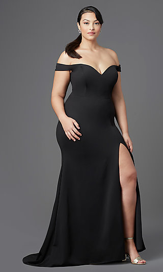 Off-Shoulder Long Plus-Size Prom Dress by PromGirl