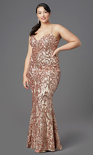 Long Plus-Size Sequin Prom Dress by PromGirl