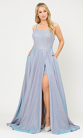 Long Glitter Knit Prom Dress with Short Underskirt