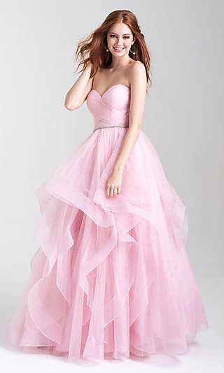 Ballgown-Style Prom Dress with a Ruffled Skirt