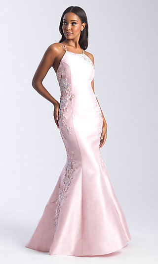 High-Neck Open-Back Prom Dress by Madison James