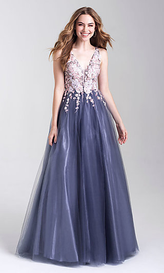 Long Sheer-Bodiced Ballgown-Style Prom Dress