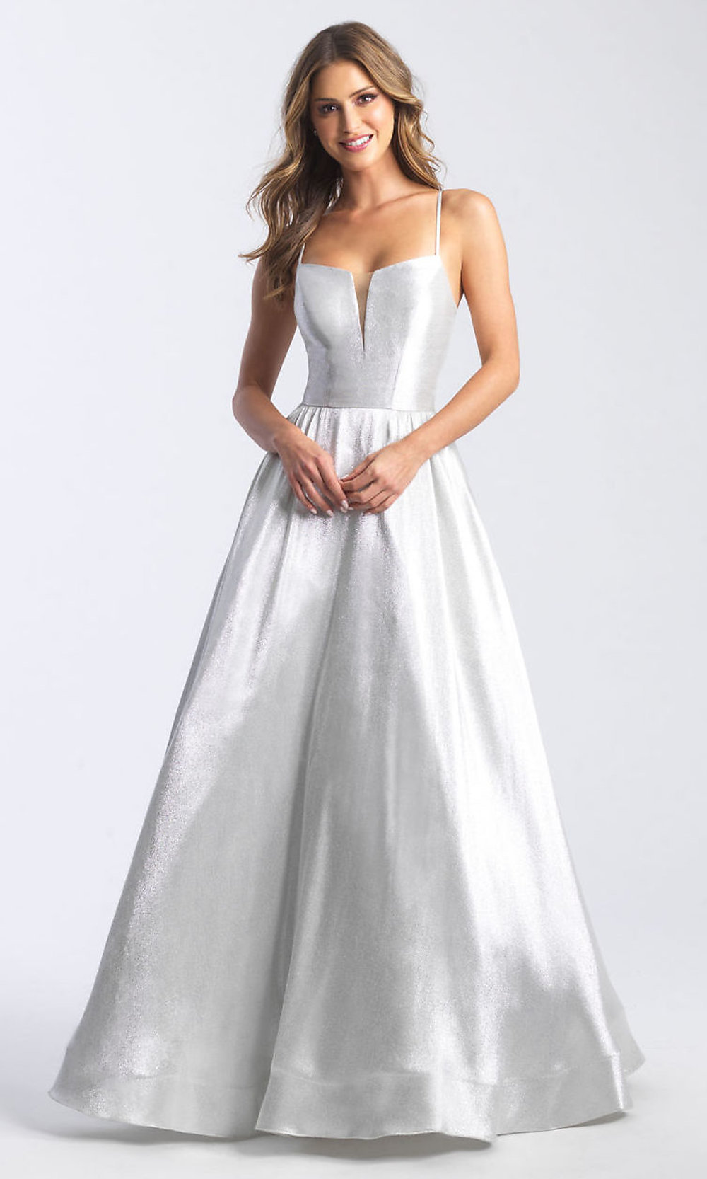 Long Shimmer Silver A-Line Formal Prom Dress -PromGirl