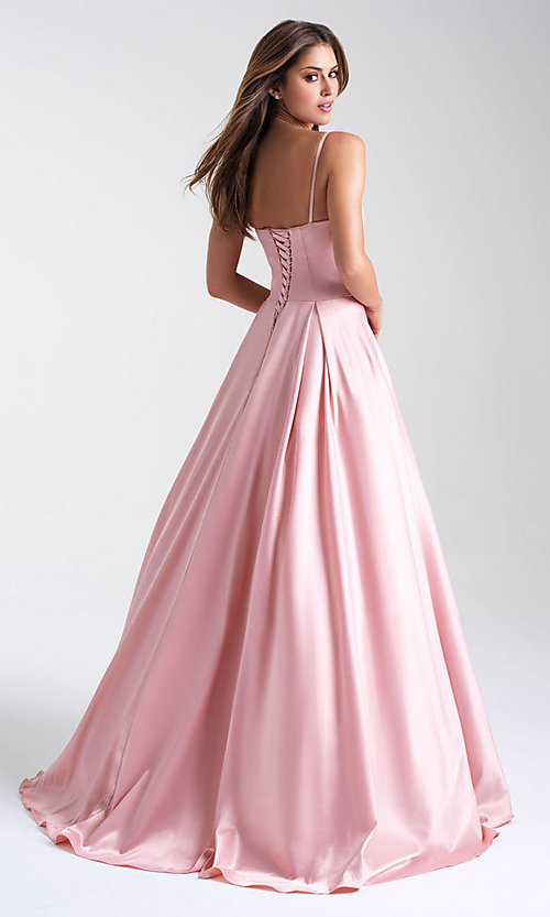Image of ball-gown-style Madison James long prom dress. Style: NM-20-314 Back Image