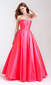 Image of long strapless formal prom dress with pockets. Style: NM-20-323 Front Image