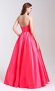 Image of long strapless formal prom dress with pockets. Style: NM-20-323 Back Image