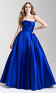 Image of long strapless formal prom dress with pockets. Style: NM-20-323 Detail Image 3