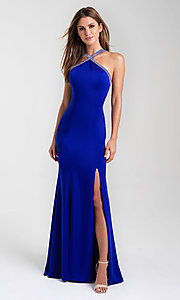 Image of open-back long formal prom dress by Madison James. Style: NM-20-324 Back Image