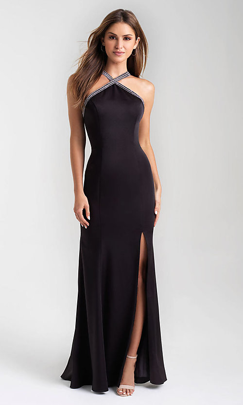 Image of open-back long formal prom dress by Madison James. Style: NM-20-324 Detail Image 1