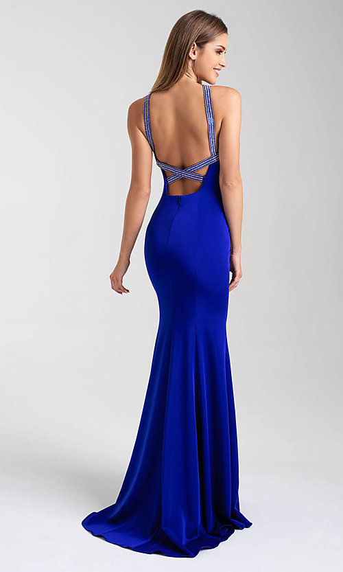 Image of open-back long formal prom dress by Madison James. Style: NM-20-324 Front Image
